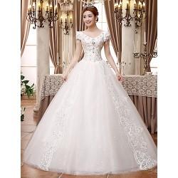 Ball Gown Wedding Dress White Floor Length V Neck Lace Satin Tulle