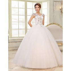 Ball Gown Wedding Dress White Floor Length V Neck Lace Satin Tulle
