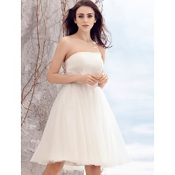 A-line Wedding Dress - Ivory Knee-length Strapless Tulle