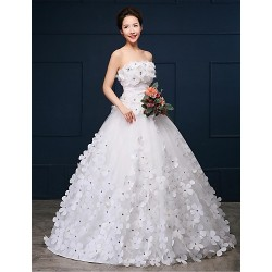 Ball Gown Wedding Dress White Chapel Train Strapless Organza Satin