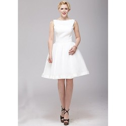 A Line Wedding Dress Ivory Knee Length Bateau Organza Satin