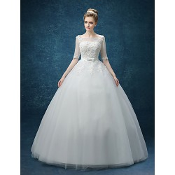 A Line Wedding Dress White Knee Length Bateau Organza