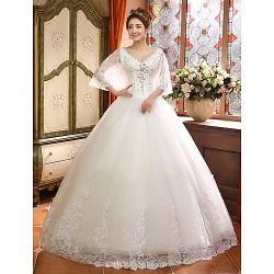 Ball Gown Floor Length Wedding Dress V Neck Lace