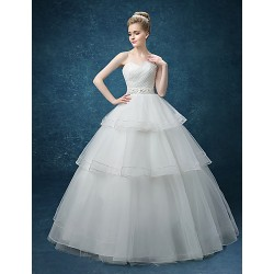 A Line Wedding Dress White Floor Length Sweetheart Organza Satin