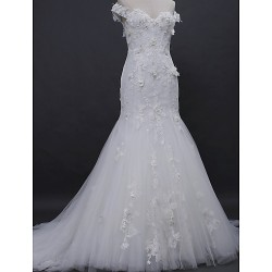 Trumpet Mermaid Wedding Dress Ivory Court Train Off The Shoulder Lace Tulle