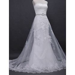 A-line Wedding Dress - Ivory Court Train Strapless Lace / Tulle