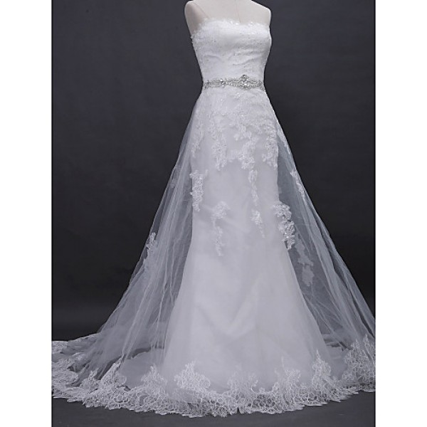 A-line Wedding Dress - Ivory Court Train Strapless Lace / Tulle Wedding Dresses