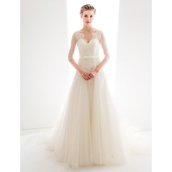 Wedding Party Dress - Ivory A-line V-neck Cathedral Train Lace / Tulle Wedding Dresses