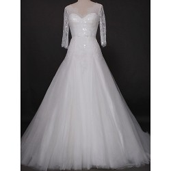 Fit & Flare Wedding Dress Ivory Cathedral Train V Neck Lace Tulle