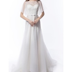 A Line Wedding Dress Ivory Court Train Scoop Tulle