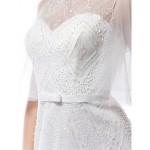 A-line Wedding Dress - Ivory Court Train Scoop Tulle Wedding Dresses