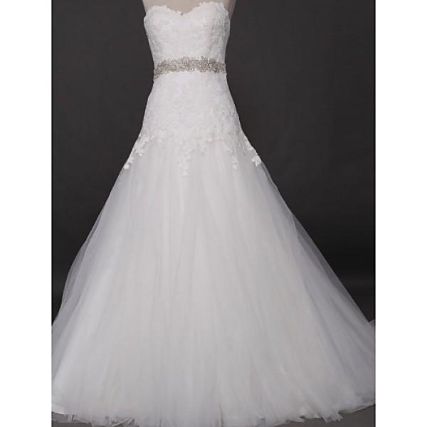 Fit & Flare Wedding Dress - Ivory Court Train Sweetheart Tulle Wedding Dresses