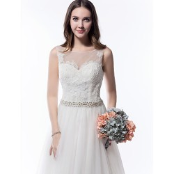 A-line Wedding Dress - Ivory Cathedral Train Scoop Tulle