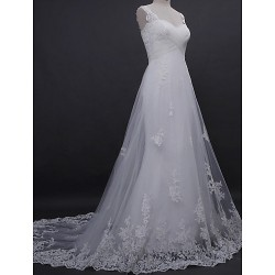 A-line Wedding Dress - Ivory Court Train Straps Lace / Tulle