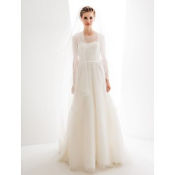 A-line Wedding Dress - Ivory Floor-length Jewel Tulle