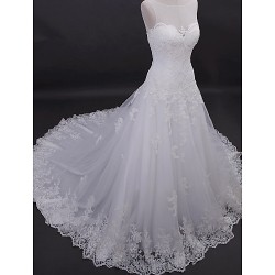 A Line Wedding Dress Ivory Chapel Train Scoop Tulle