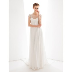 Wedding Party Dress - Ivory A-line Jewel Court Train Chiffon / Tulle