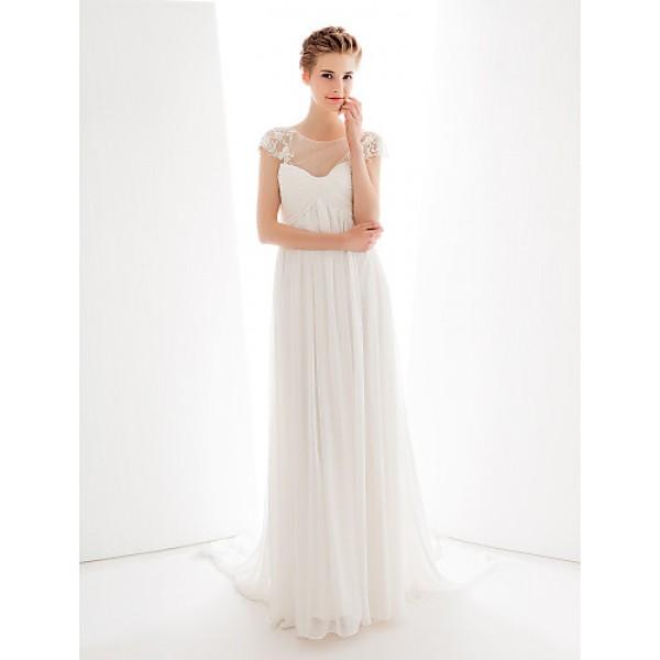 Wedding Party Dress - Ivory A-line Jewel Court Train Chiffon / Tulle Wedding Dresses