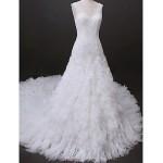 Fit & Flare Wedding Dress - Ivory Cathedral Train V-neck Tulle Wedding Dresses