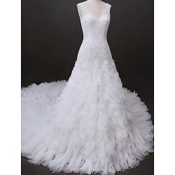 Fit & Flare Wedding Dress Ivory Cathedral Train V Neck Tulle