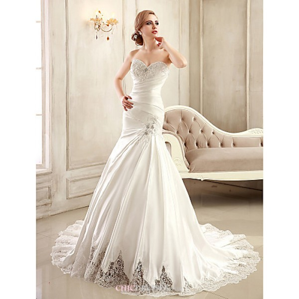 Trumpet/Mermaid Wedding Dress - White/Ivory Chapel Train Strapless/Sweetheart Satin Wedding Dresses