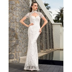 Sheath Column Plus Sizes Wedding Dress Ivory Floor Length Sweetheart Satin Charmeuse Lace Stretch Satin