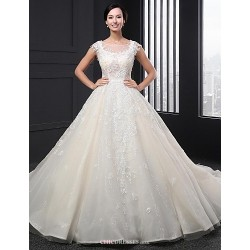 A Line Wedding Dress Ivory Chapel Train Scoop Lace