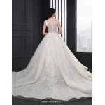 A-line Wedding Dress - Ivory Chapel Train Scoop Lace Wedding Dresses