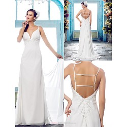 Sheath Column Plus Sizes Wedding Dress Ivory Sweep Brush Train Spaghetti Straps Chiffon