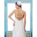 Sheath/Column Plus Sizes Wedding Dress - Ivory Sweep/Brush Train Spaghetti Straps Chiffon Wedding Dresses
