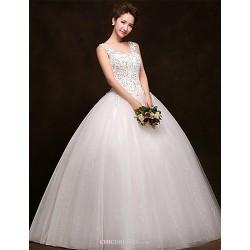 Ball Gown Floor-length Wedding Dress -Scoop Tulle