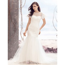 Fit & Flare Wedding Dress - Ivory Sweep/Brush Train Bateau Lace / Tulle