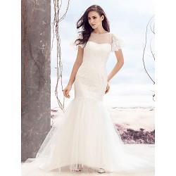 Fit & Flare Wedding Dress Ivory Sweep Brush Train Bateau Lace Tulle