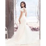 Fit & Flare Wedding Dress - Ivory Sweep/Brush Train Bateau Lace / Tulle Wedding Dresses