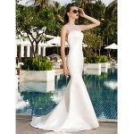 Trumpet/Mermaid Plus Sizes Wedding Dress - Ivory Sweep/Brush Train Scoop Satin/Tulle Wedding Dresses