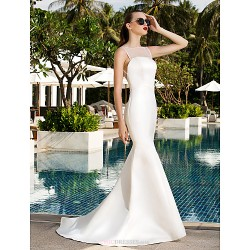 Trumpet/Mermaid Plus Sizes Wedding Dress - Ivory Sweep/Brush Train Scoop Satin/Tulle