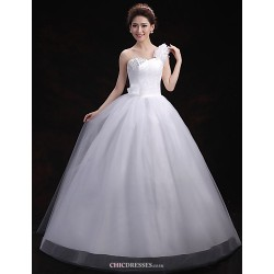 Ball Gown Wedding Dress White Floor Length One Shoulder Tulle