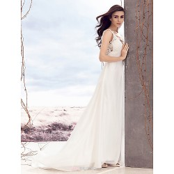 A-line Wedding Dress - Ivory Sweep/Brush Train V-neck Chiffon