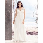 A-line Wedding Dress - Ivory Sweep/Brush Train V-neck Chiffon Wedding Dresses