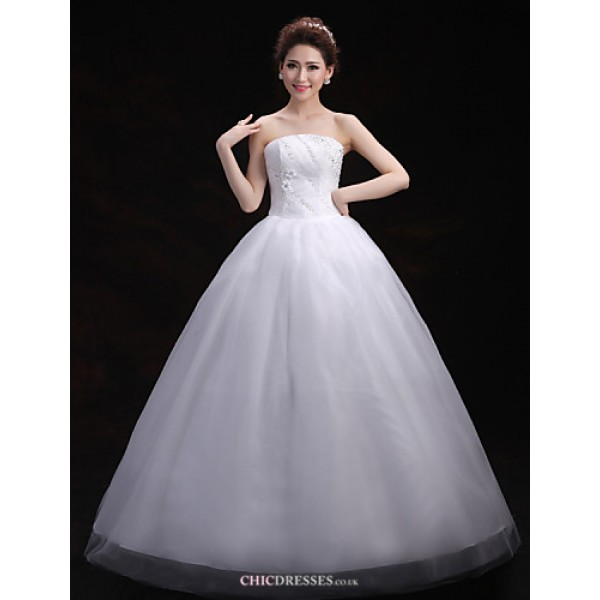 Ball Gown Wedding Dress - White Floor-length Strapless Tulle Wedding Dresses