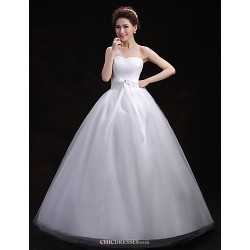 Ball Gown Wedding Dress - White Floor-length One Shoulder Tulle
