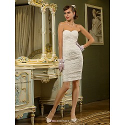 Sheath Column Plus Sizes Wedding Dress Ivory Short Mini Sweetheart Lace