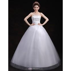 Ball Gown Wedding Dress White Floor Length Scalloped Edge Tulle