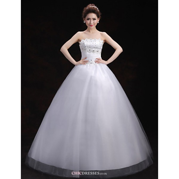 Ball Gown Wedding Dress - White Floor-length Scalloped-Edge Tulle Wedding Dresses