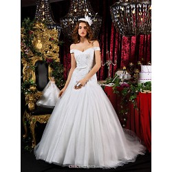 A-line Princess Court Train Tulle Wedding Dress