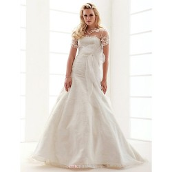 A-line Jewel Court Train Lace Wedding Dress