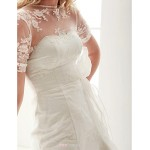 A Line Jewel Court Train Lace Wedding Dress