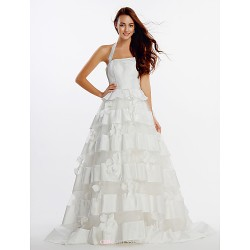 A Line Wedding Dress Ivory Sweep Brush Train Halter Organza Satin