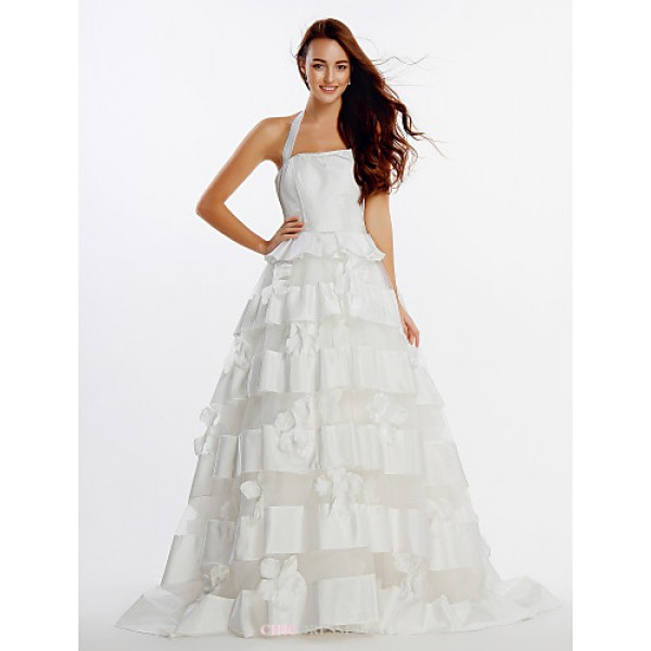 A-line Wedding Dress - Ivory Sweep/Brush Train Halter Organza / Satin Wedding Dresses