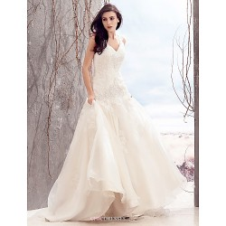Fit & Flare Wedding Dress Ivory Sweep Brush Train V Neck Organza